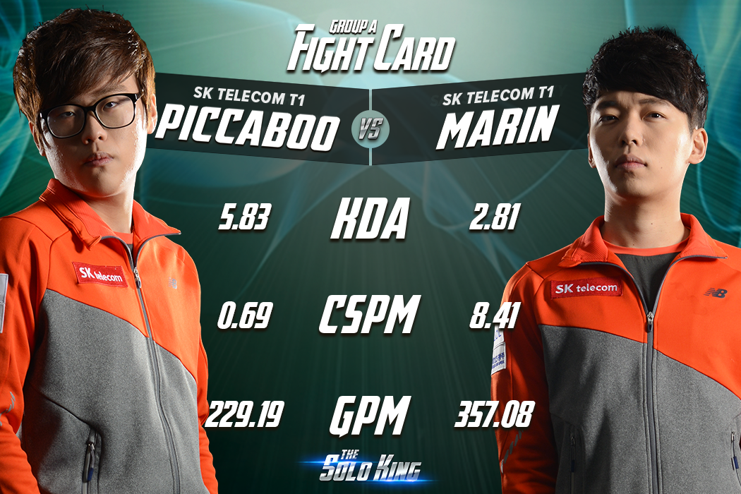 The solo king fight cards group a skt t1 piccaboo vs skt t1 marin
